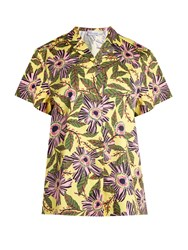Red Valentino Passion Flower Print Stretch Cotton Shirt Yellow Multi