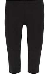 Norma Kamali Cropped Mesh Trimmed Stretch Jersey Leggings Black