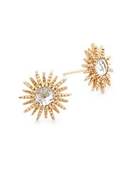 Anzie 14K Yellow Gold And White Topaz Sun Stud Earrings
