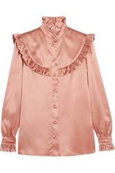 Saint Laurent Ruffled Silk Satin Blouse Blush