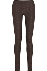 Missoni Metallic Crochet Knit Stretch Jersey Skinny Pants Brown