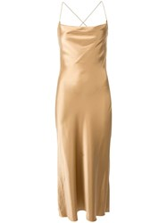 Dion Lee Bias Weave Cowl Dress Gold