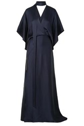 Roland Mouret Duval Wrap Effect Asymmetric Hammered Silk Satin Gown Navy
