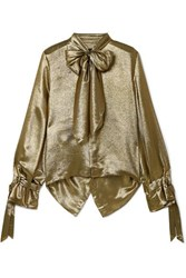 Roland Mouret Royce Pussy Bow Cutout Metallic Silk Blend Blouse Gold