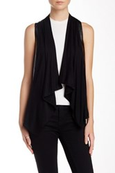 Fate Asymmetrical Contrast Faux Leather Vest Black