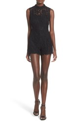Women's Glamorous Band Collar Open Back Lace Romper