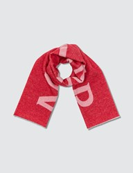 Moncler Wool Jacquard Scarf With Large Logo Red