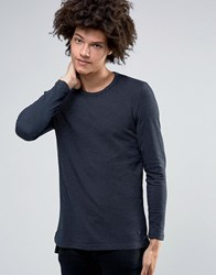 Minimum Issac Long Sleeve Top Texture Dark Navy