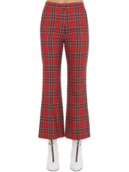Pushbutton Flared Plaid Pants