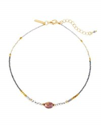 Panacea Beaded Freshwater Pearl Choker Necklace Gray