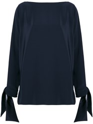 Gianluca Capannolo Satin Tie Cuff Blouse Blue