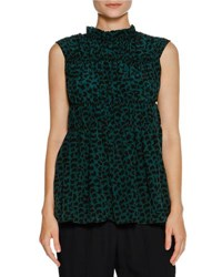 Marni Ruched Sleeveless Geometric Print Top Green