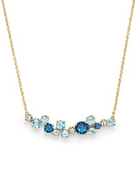Bloomingdale's Blue Topaz And Diamond Cluster Pendant Necklace In 14K Yellow Gold Blue Gold