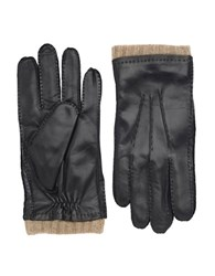 Black Brown Cashmere Lined Cuffed Leather Gloves Black