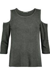 Tart Collections Albany Cold Shoulder Stretch Jersey Top Grey Green