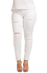 Standards And Practices Plus Size Women's Destroyed Stretch Skinny Boyfriend Jeans