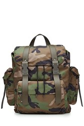 Valentino Camouflage Printed Backpack With Leather Green