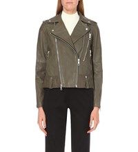 Whistles Payne Leather Biker Jacket Khaki Olive