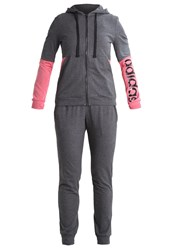 Adidas Performance Tracksuit Dark Grey Heather Core Pink