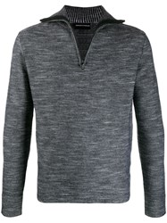 Emporio Armani Zip Up Turtleneck Jumper Grey