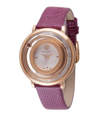 Versace Venus Round Watch W Floating Red Topaz And Leather Strap Rose Golden
