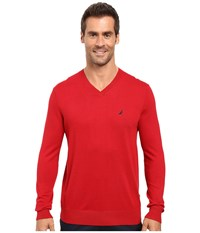 Nautica Solid V Neck Sweater Red Men's Sweater