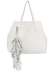 P.A.R.O.S.H. Fringed Oversized Shopping Bag White