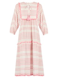 Zimmermann Valour Striped Cotton Blend Dress Pink Stripe