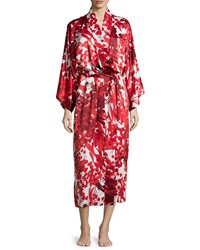 Natori Ottoman Floral Printed Long Robe Cranberry Red