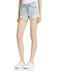 Free People Daisy Chain Crochet Detail Denim Shorts