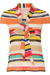 Alice Olivia Betsey Pussy Bow Striped Silk Blend Top Multi
