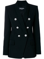 Balmain Double Breasted Blazer Cotton Wool Viscose Black