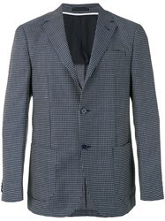 Z Zegna Two Button Spot Jacket Men Linen Flax Cupro Wool 50 Blue