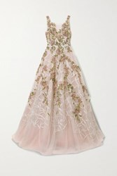 Marchesa Embellished Embroidered Tulle Gown Blush