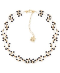 Anne Klein Gold Tone Beaded Multi Row Collar Necklace Black