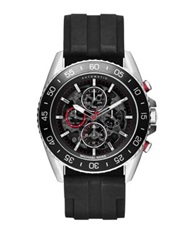 Michael Kors Jetmaster Stainless Steel And Silicon Automatic Chronograph Strap Watch Black Silver