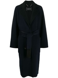 Barbara Bui Belted Mid Length Coat Blue