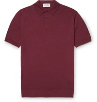 John Smedley Slim Fit Virgin Wool Polo Shirt Burgundy
