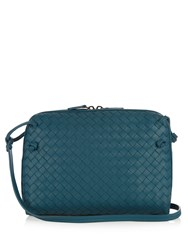 Bottega Veneta Nodini Intrecciato Leather Cross Body Bag Blue