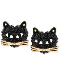 Betsey Johnson Two Tone Pave Black Crystal Cat Stud Earrings