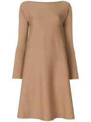 Roberto Collina Knitted Shift Dress Nude And Neutrals