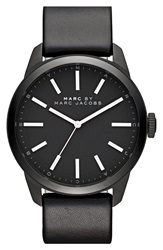 Marc By Marc Jacobs 'Dillon' Leather Strap Watch 44Mm Black