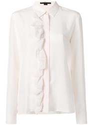 Stella Mccartney Ruffle Lace Placket Shirt Nude Neutrals