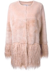 Shrimps 'Porgie' Shearling Coat Pink Purple