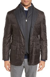Corneliani Men's Classic Fit Quilted Sport Coat Dark Brown