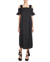 Dries Van Noten Dubois Taffeta Cold Shoulder Midi Dress Black