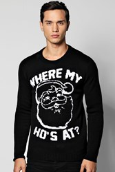 Boohoo My Ho's At Christmas Jumper Black