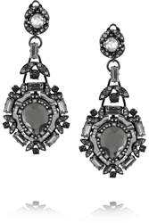 Lanvin Iconic Gunmetal Tone Crystal And Mirror Clip Earrings