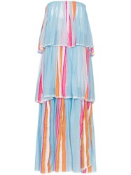 Lemlem Eskedar Striped Tiered Maxi Dress Blue