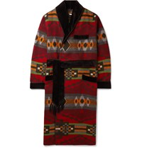 Rrl Velvet Trimmed Cotton And Wool Blend Jacquard Robe Red